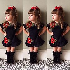 USA Toddler Kids Baby Girls 3D Flower Summer Party Dress Sundress Clothes 0-4T