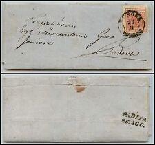 LOMBARDO VENETO-15 cent II tipo(5)-Letterina Verona->Padova 25.8.1855