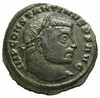 Constantine I Æ Follis 23mm (313 AD), Jupiter holding Victory