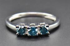 Blue Diamond Engagement Ring Ladies 3 Stone Round Promise 10K White Gold 0.50 Ct