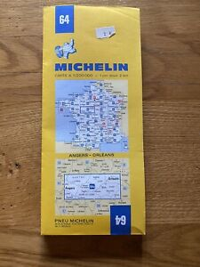 MICHELIN FRANCE 1975 COLOURED PAPER MAP of ANGERS-ORLEANS No 64 1:200 000 VGC