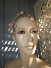 FABULOUS PINK NETTING WOMENS HAT WITH PINK VELVET BOWS VINTAGE 1950s