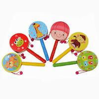 Wooden Rattle Pellet Drum Cartoon Musical Instrument Toy for Child Kids Gift