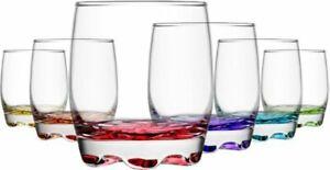 Lav Coloured Base Glasses Set  Pack of 6 Glassware Tumbler Juice Whiskey Wine