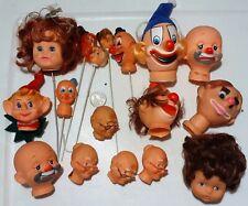 Lot of 17 Vintage Doll Clown Heads Doll Making Parts Hong Kong