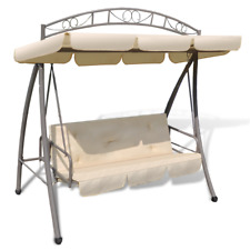 198cm Outdoor Hanging Swing 3 Persons Canopy Seat Bed Convertible Sofa Chair