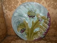 ANTIQUE FRENCH LUNEVILLE ARTICHOKE ASPARAGUS MAJOLICA PLATE K & G pottery