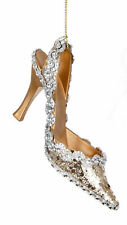 6 x Champagne Gold 3D Shoe Hanging Decorations Baubles Christmas Tree Decoration
