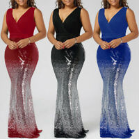 Formal Women Plus Size Sequins Mermaid Maxi Long Cocktail Prom Dress Ball Gown