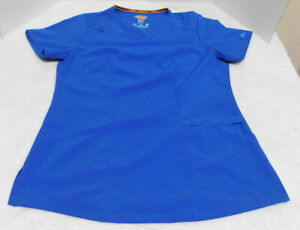 DICKIES EDS ESSENTIALS 4 WAY STRETCH ROYAL BLUE SCRUB TOP Size Small