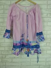 NAUDIC Tunic Top Sz S  Pink, Blue, Purple Print Hippie, Boho