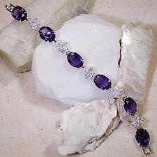 "Wholesale 5 strands x 35Ct Purple Amethyst White Topaz Silver Bracelet 7""Gbr172"