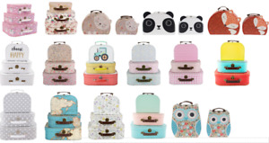 Set of 2 or 3 Kids Girls Suitcases Shabby Chic Bedroom Storage