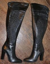 Catherine Malandrino Thigh High Black Leather Boots Size 8 Holiday Party Wings
