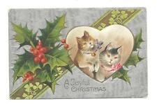 CHRISTMAS Postcard Ginger & Gray Cat Holly Clover Heart
