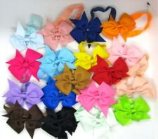 "Baby Girl Headband BOWS lot of 18 all Different Colors 2"" tall Bows Fashion Hair"