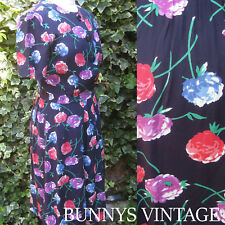 SALE Rockabilly vtg 80s/50s 40s blue floral wiggle tulip pin up dress uk 12/14