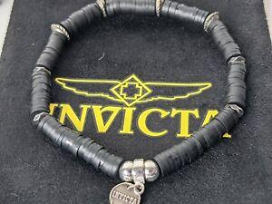 Invicta Men's Rubber Beaded Bracelet Black 35969
