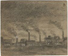 Vintage Original Charcoal Drawing of Factories