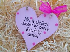 Personalised Cousins By Chance Heart Sparkly Plaque Gift