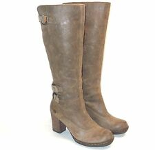 Born Brown Distressed Leather Tall Knee High Heel Buckle Boots Women's 8.5 40