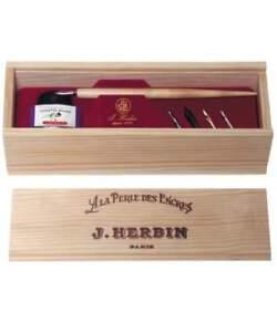 J. Herbin La Perle des Encres Wooden Box Set Vintage w Violet Ink & 5 Steel Nib