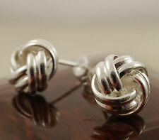 Elegant 925 Sterling Silver Plated Knot Twist Round Stud Earrings - New -30