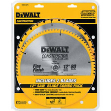 DEWALT DW3128P5 80-Tooth 12 in. Crosscutting Tungsten Carbide Miter Saw Blade -