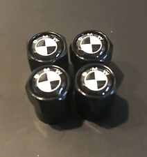 4 x Black Metal Hex Tyre Air Valve Dust Caps with BLACK & WHITE Logo suit BMW