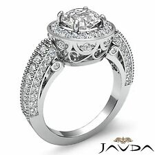 2ct Round Diamond Engagement Halo Pave Bezel Filigree Ring GIA F VS2 Platinum