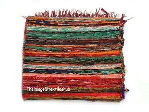 4x6 Ft Indian Chindi Mat Rug Floor Dari Carpet Hand-Woven Sari Rag Rug Yoga Mat