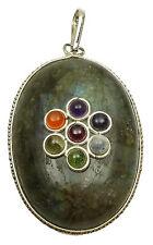 Labradorite Pierre 7 chakra forme ovale pendentif reiki  pierres précieuses