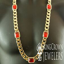 New Mens 14K Yellow Gold Finish Red Garnet Ruby Thick Miami Cuban Chain Necklace