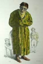 The Monkey Philosopher Print Original Engraving Watercoloured of Grandville 1842