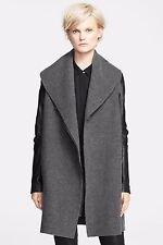 NEW Vince Gray Wool Shawl Collar Coat Black Leather Sleeves Large $895 Z2068