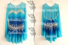 Figure Skating Dress Ice Skating Dress Spandex Rhinestone blue dyeing