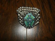 Silver Beaded Bracelet Turquoise bracelet Cross Bracelet New