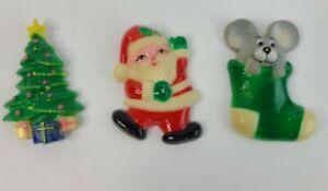 "Vintage JSNY Christmas Magnets 2.5"" Plastic Santa, Tree & Stocking"