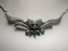 Vintage Sterling Silver Marcasite Chrysoprase Heart & Ribbon Necklace Italy