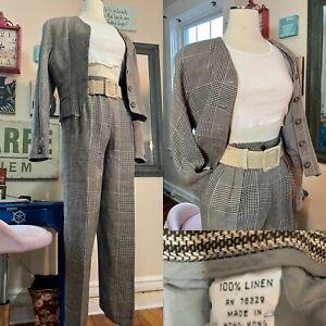 Vintage 1990s Fall /  Linen Lined Pants Suit Hi Waisted Trousers Cropd Jacket M