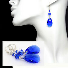 Majestic Blue Austrian Crystal Earrings, Sparkly, Elegant, Sterling Silver