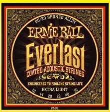 Ernie Ball 2560 Everlast Coated Acoustic Guitar Strings Ext LT - Free Ship U.S.