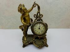 Vintage Brass Pearl? Inlay  Face Cherub Wind Up Footed Clock Mantle Night Stand