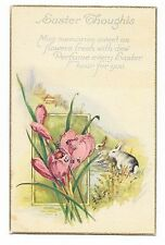 VINTAGE EASTER POSTCARD BUNNY RABBITS WATER HILL HOUSE PINK IRIS FLOWERS 1926