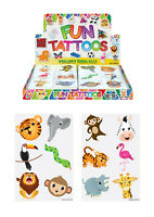 72 Childrens Jungle Zoo Temporary Tattoos Kids Loot Party Bag Fillers Boys Girls