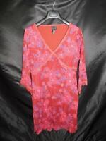 INC XL Dark Red Purple Floral Dress Empire Waist 3/4 Sleeve Stretch Knit V Neck