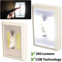 10X COB LED Wall Switch Wireless Battery Operated Closet Cordless Night Light 3W
