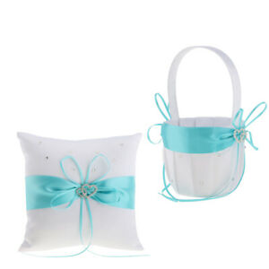 Wedding Ceremony Party Double Heart Flower Girl Basket   Pillow Set White