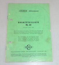 Teilekatalog / Ersatzteilliste Cramer Allesmuser Stand 01/1962