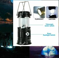 2in1 LED Camping Home Emergency Light Lantern / Flashlight usb solar panel Blk